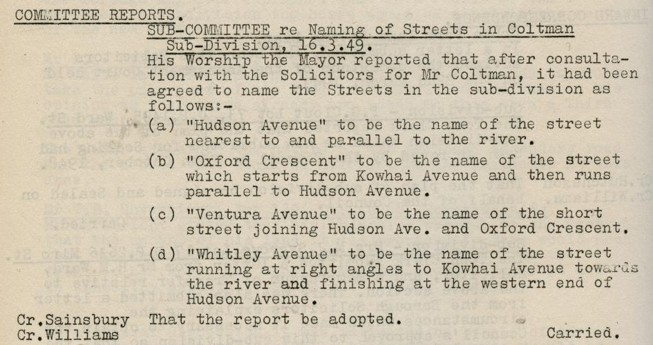 003 Oxford Cresc Upper Hutt Record of Council Decision 16 Mar 1949