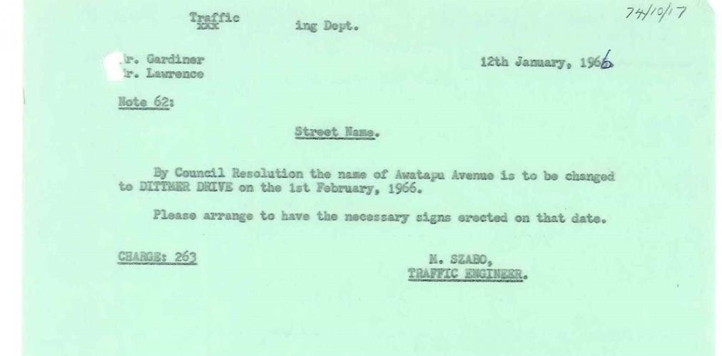 Council Resolution of 12 January 1966 stating that Awatapu Avenue be renamed Dittmer Drive
