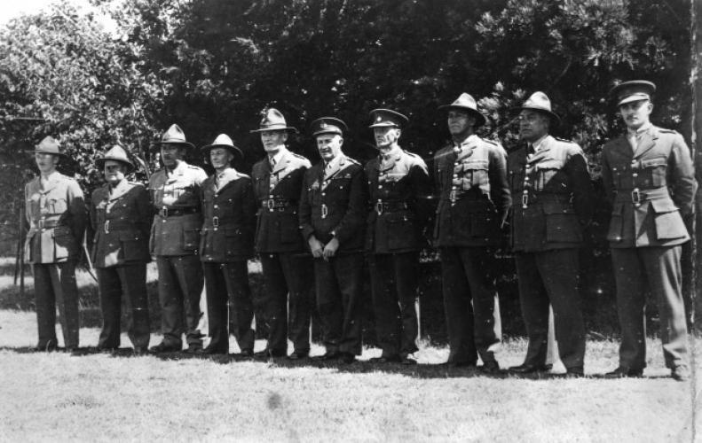 The original officers of the 28th Maori Battalion 1940. Brigadier Dittmer is fourth from the right.