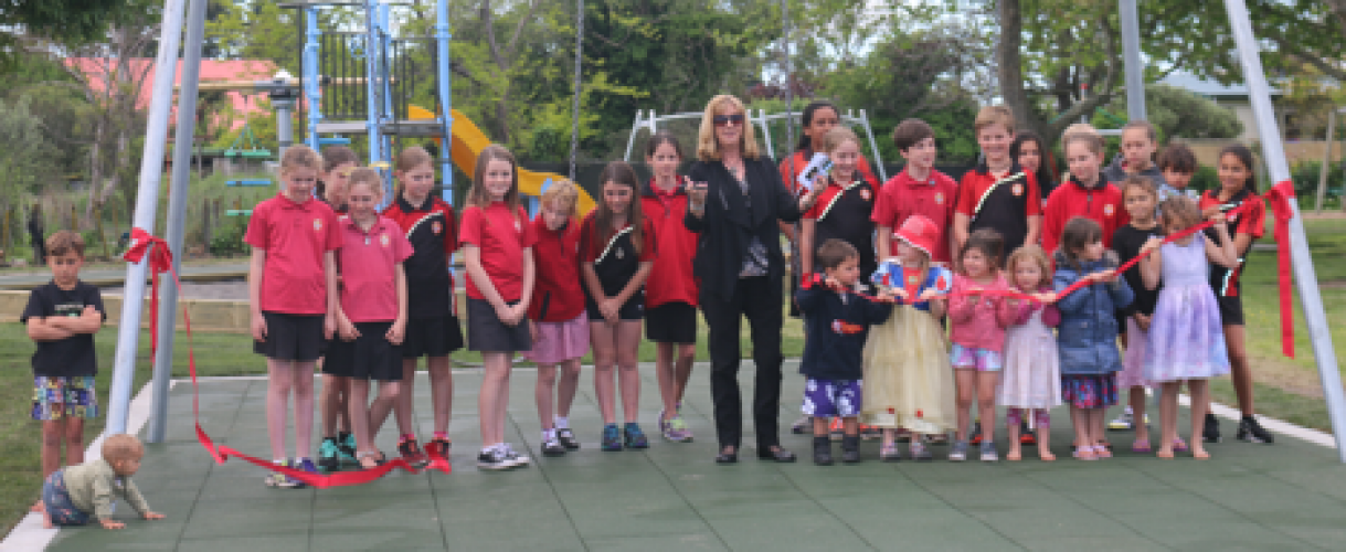The playground opening went well with help from Councillor Ann Redstone and local children.